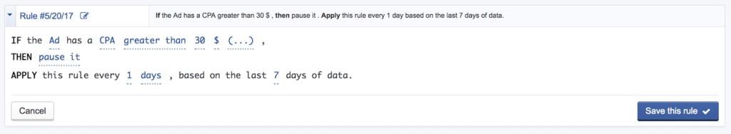 Автоматические правила Facebook
